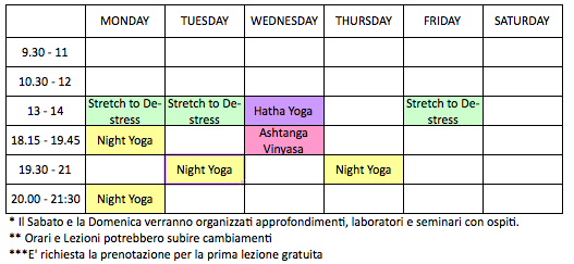 Summer Schedule // Orari Estivi