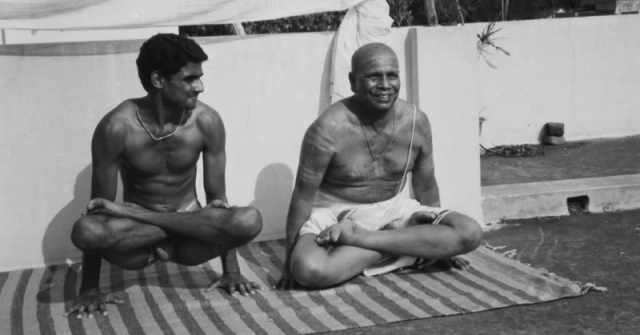 R. Sharath Jois with Sri K Pattabhi Jois